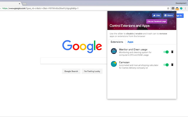 Extension manager for Chrome™