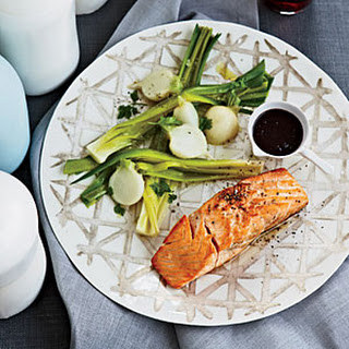 Salmon with Red Wine-Balsamic Sauce.