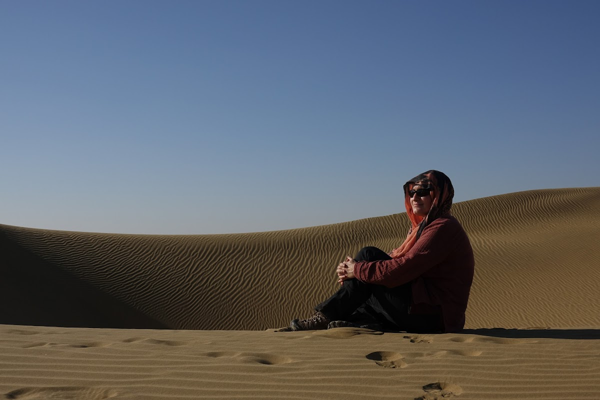 India. Rajasthan Thar Desert Camel Trek. Enjoying the peace and quiet of the Thar Desert