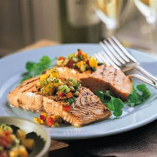 Grilled Salmon Fillets with Mango-Cucumber Salsa.