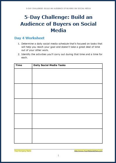 Build Your Audience Using Social Media - Bonus Challenge Worksheet 4