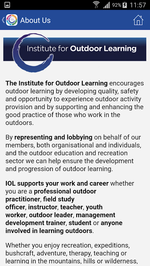 Institute for Outdoor Learning- screenshot