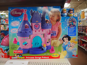 Photo: While it wasn't what we came to the store for, we did find the Fisher-Price LIttle People Princess Songs Palace. Evidently the princesses will talk and sing songs when they are placed in certain areas. It's a cute concept and the price is right, coming in at just under $40 at my Walmart.