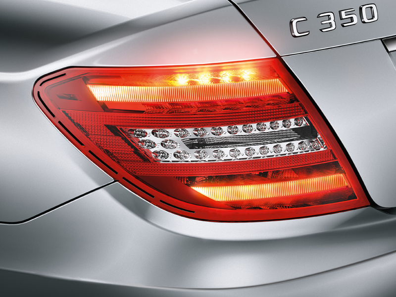 Photo: LED taillamps and turn signals come standard on the C-Class. That they last longer and use less energy is important, but it's always important to have a dash of subtle style, too.