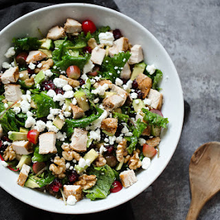 Chicken Kale Waldorf Salad with Avocado & Goat Cheese.