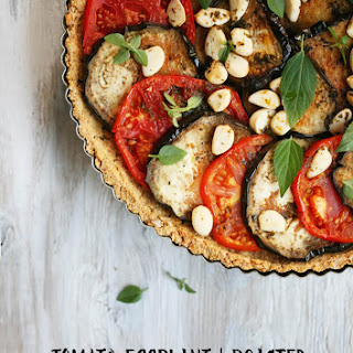 Grain-Free Tomato, Eggplant and Roasted Garlic Tart