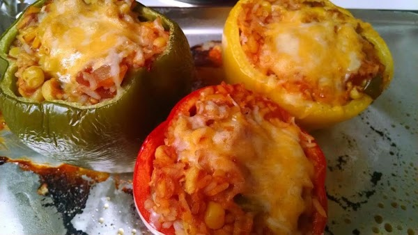 Uncover and sprinkle each pepper with Monterey Jack cheese. Continue baking, uncovered, another 15-20...