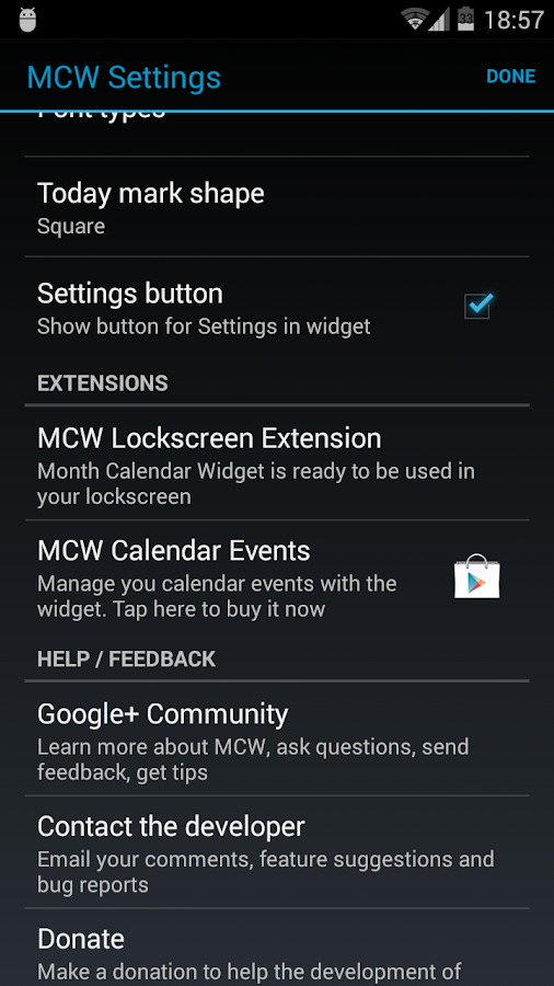 Month Calendar Widget- screenshot