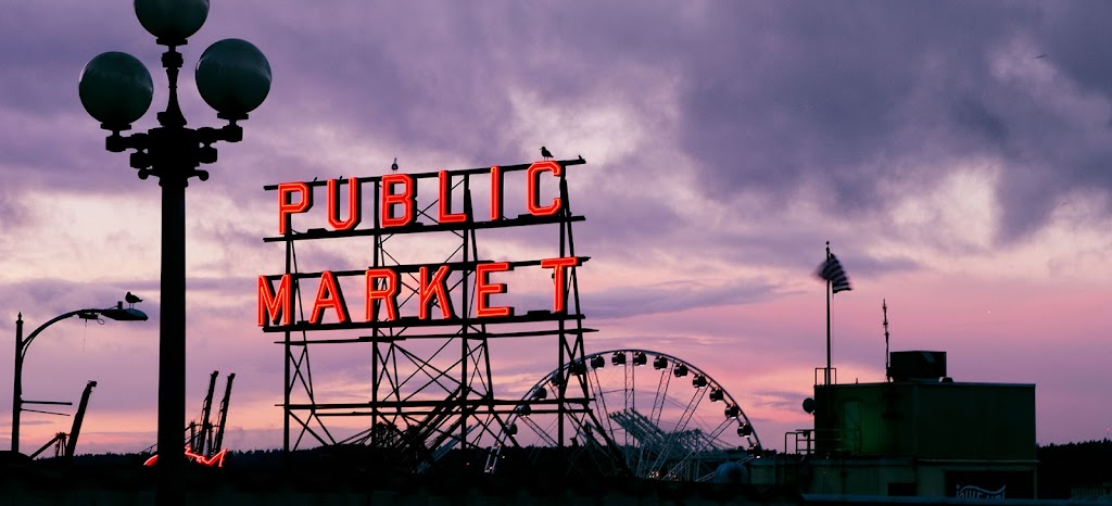 Seattle Public Market at Sunset