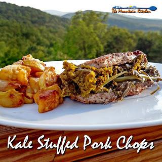 Kale Stuffed Pork Chops.