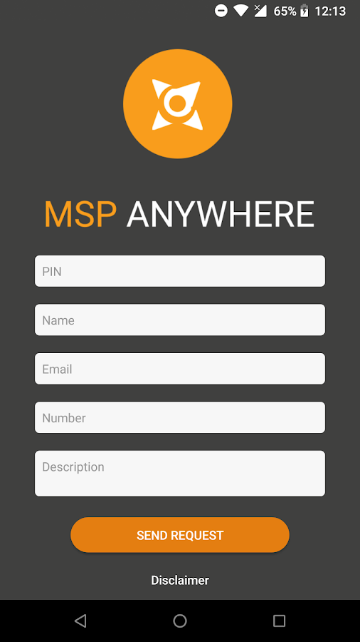 MSP Anywhere Applet- screenshot