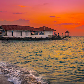 Sunset at Runaway bay by Jim Keating - Buildings & Architecture Other Exteriors ( jamaica, runaway bay, sunset, sea, summer, beach,  )