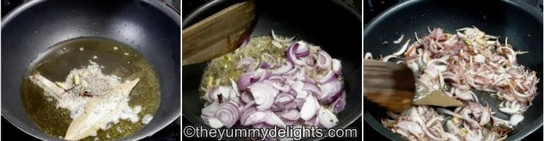 step by step collage for sauteing the sliced onions for making the Lucknowi biryani