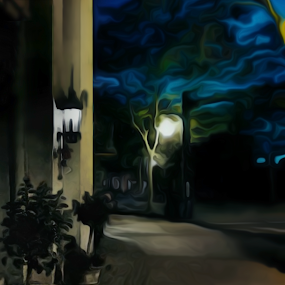 Sidewalk in Village 100 by Kevin Lucas - Digital Art Places ( small town, village, night, kevin lucas, eye statements, surreal, streetlamp, sidewalk, city at night, street at night, park at night, nightlife, night life, nighttime in the city,  )