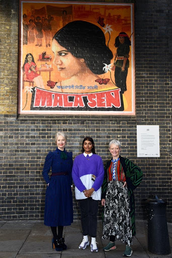 Justine Simons, Jasmin Kaur Sehra and Maria Balshaw in front of LDN WMN artwork of Mala Sen