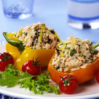 Salmon and Rice-stuffed Peppers