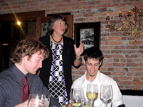 Photo: Ann explains her napkin-head tradition