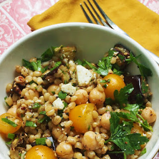 Eggplant, Chickpea and Wheat Berry Salad