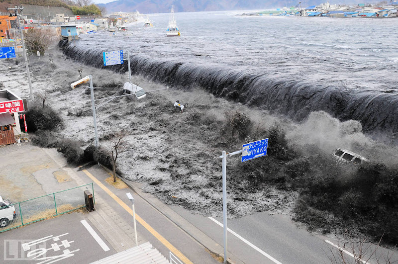 Photo: The wave from a tsunami crashes over a street in Miyako City, Iwate Prefecture, in northeastern Japan after a 9.0 earthquake struck off the country's coast on March 11. The earthquake was the strongest known to have ever hit the country, and the tsunami's 133-foot waves killed some 16,000 people. Photo: Reuters/Landov Mar 15, 2011