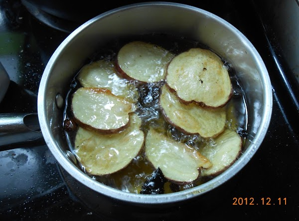 Slice potatoes and cook with a little olive oil till tender.