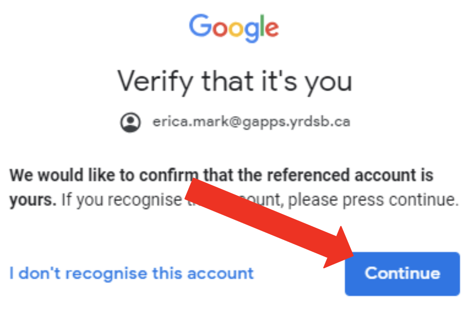 Google verification pop-up. Arrow is pointing at Continue button.