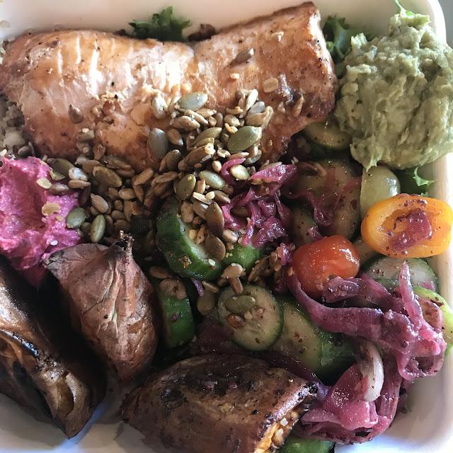 Bowl at Little Beet. Base: Half Quinoa and half Field Greens. Veg: Cukes
