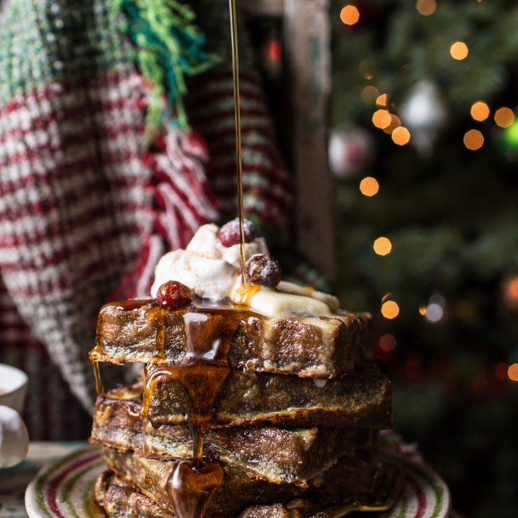 Baked Gingerbread Custard Waffle French Toast. Recipe