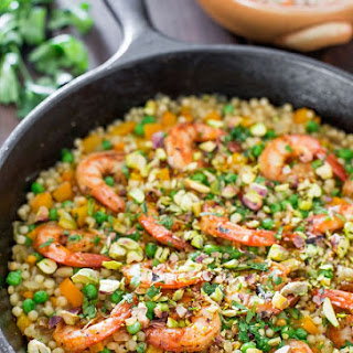 One Pot Couscous with Shrimp and Peas Recipe