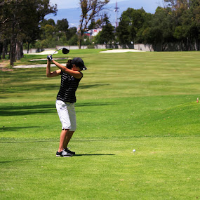 Driving by Cristobal Garciaferro Rubio - Sports & Fitness Golf ( golf course, bunker, grass, drive, golf, lady, trees, leaves )