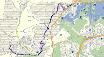 Photo: Blue=Walk 11.7km - GPS map view on map base using open source Open Steet Maps (OSM) NSW Cycle garmin map -  gps, kml files are located in Google Drive: https://drive.google.com/folderview?id=0B3KACTzeu2lANTA3NWM4NmItMjYyOC00MDAxLTk3ZDEtNzEzMjQ5MDViZGIw&usp=sharing