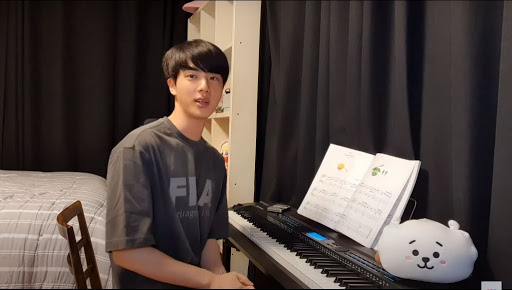 Jin stated that he was nervous before plaing Piano