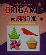 Photo: Origami : Fun Folding Time Early Learner Publications 2003 16 pp softcover ISBN 9832730392    bird, rabbit, hat, pencil holder, box, caterpillar, aquatic bird, red bird, penguin, gondola, umbrella, fox, necktie, morning glory, man, star, hat