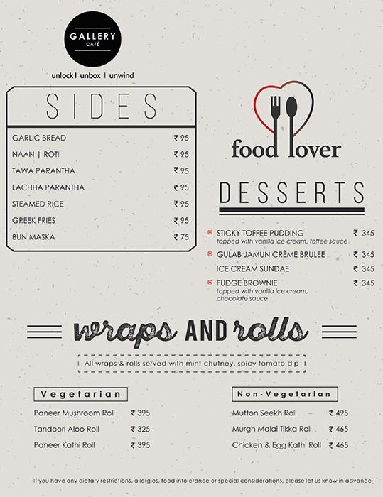Gallery cafe, Hyatt Place menu 2