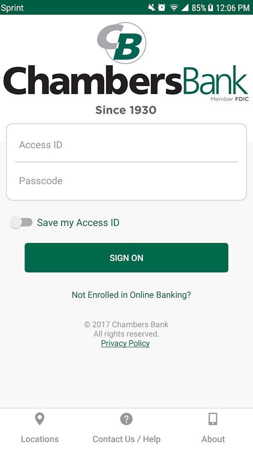 Chambers Bank- screenshot