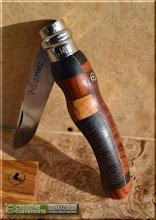 Photo: Opinel custom n°066 http://opinel-passions-bois.blogspot.fr/ Personnalisations en marquèterie de bois précieux, cornes, résines et aluminium du couteau pliant de poche de la célèbre marque Savoyarde Opinel.