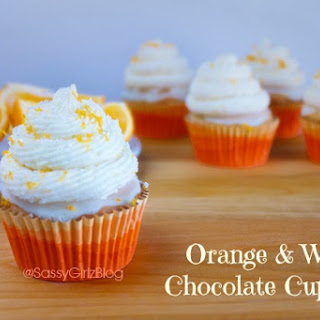 Orange White Chocolate Cupcakes.