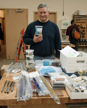 "Photo: One of our Members, Bob ""RJ"" Stroman, has started a business selling abrasives and other turning tools.  Here he shows some of his wares."