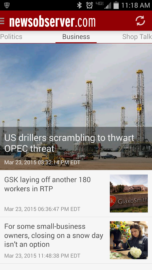 News & Observer (N&O): Mobile- screenshot