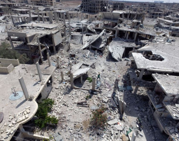 A general view of damaged buildings taken with a drone in Deraa, Syria July 13, 2017.
