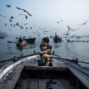 floting on ganga by Suman Mukherjee - Uncategorized All Uncategorized ( varanasi, india, morning, boat, river )