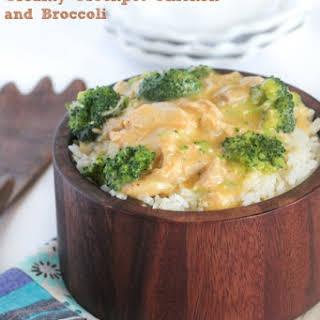 Creamy Crockpot Chicken and Broccoli Over Rice.