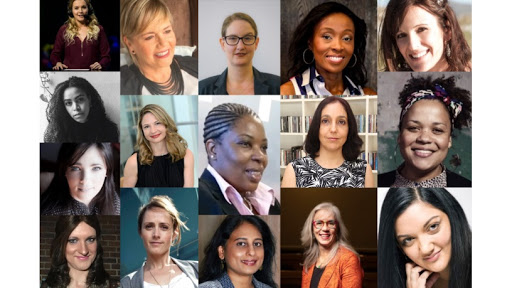 Row 1: Samantha Wright, Tech Girl; Darlene Menzies, Finfind; Samantha Perry, Women in Tech ZA; Rapelang Rabana, Rekindle Learning; and Anna Collard, Popcorn Training. Row 2: Pelonomi Moila, Nedbank; Naomi Snyman, Standard Bank; Kholeka Tsotsotso, DBSA; Gillan Ezra, TRACE; and Thandi Dyani, Impact Hub Johannesburg. Row 3: Jacqui Mackway-Wilson, Go Social SA. Row 4: Bianca Minaar, Bonsai Solutions; Barbara Mallinson, Obami; Ashnie Muthusamy, Sun International; Ingrid Lotze, Hers&His and join.the.dots; and Lynette Hundermark, U&B.