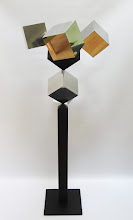 Photo: 30 REFLECTIONS AND A VOID - 58H X 26W X 24D Polished Stainless Steel, Painted Mild Steel, R Side View