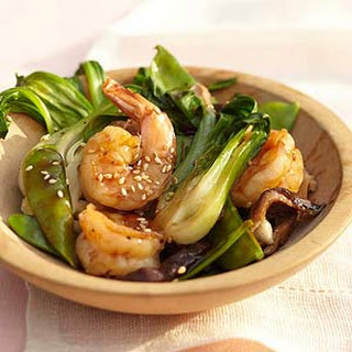 Sautéed Shiitake and Bok Choy with Shrimp.