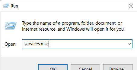 Type services.msc
