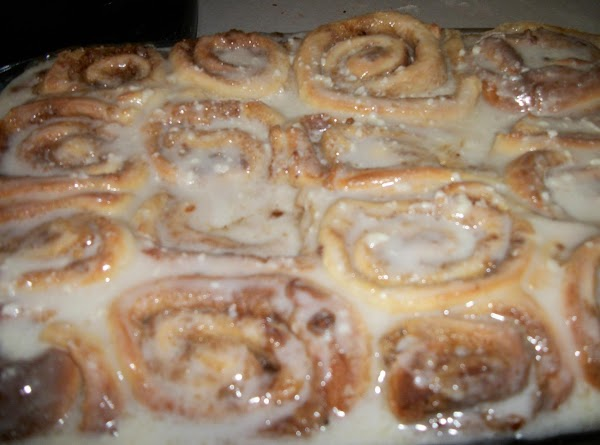 For cinnamon spread:Roll each piece of dough out to a 9x13 rectangle. Spread dough...