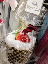 "Photo: Before I reached the seasonal aisles, I saw these creatively packaged wash cloths on an end-cap display.  I knew right away that this would be a perfect little ""something"" to include in my basket!"