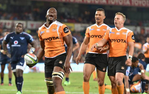 Oupa Mohoje of the Cheetahs during the Super Rugby match between Toyota Cheetahs and Vodacom Bulls at Toyota Stadium in Bloemfontein, South Africa.