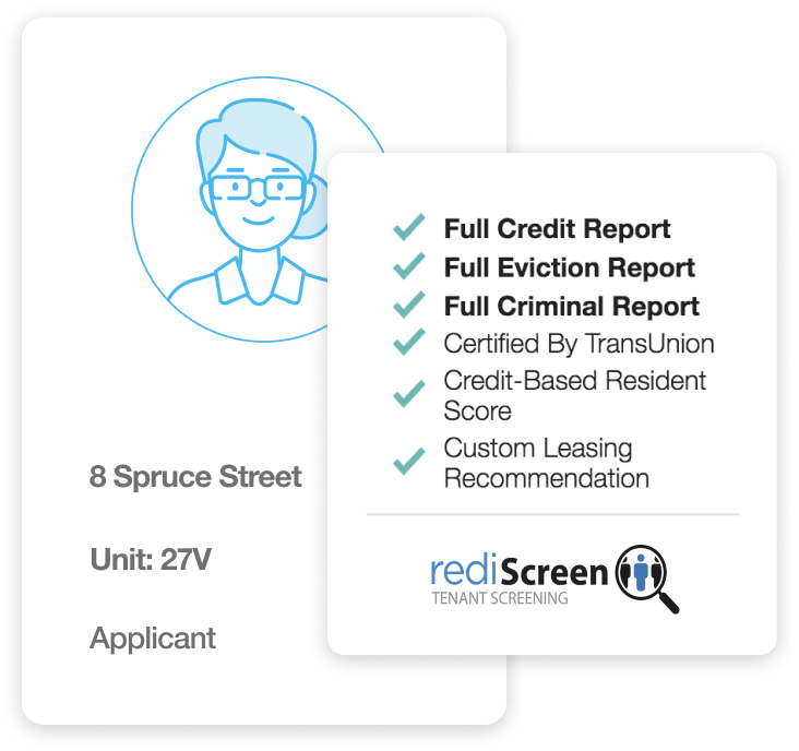 auto-tenant screening image: rediScreen tenant screening image with text that reads: full credit report, full eviction report, full criminal report, certified by TransUnion, credit-based resident score, custom leasing recommendation.