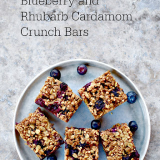 Blueberry & Rhubarb Cardamom Crunch Bars (vegan recipe)